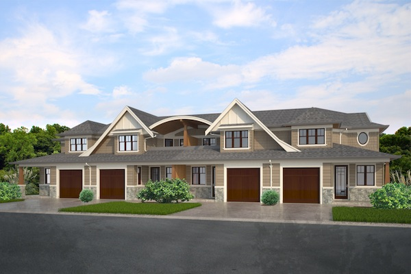 Plan house plans by for Fourplex plans with garage