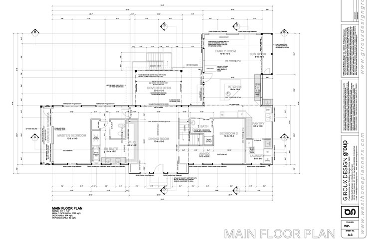 Example of a main floor plan to be submitted for site plan drawings.