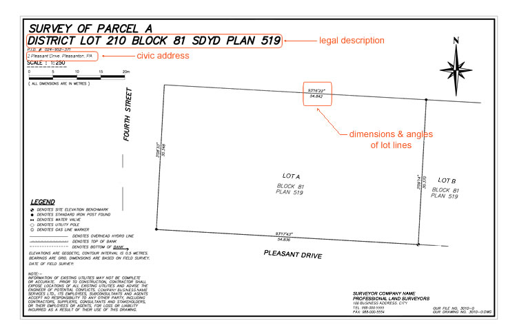 Example of a surveyor site plan to be submitted for site plan drawings.