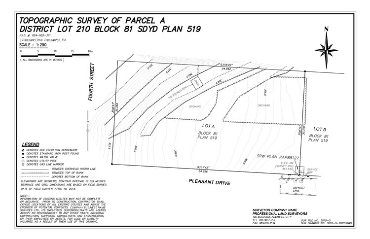 Example of a topographic site plan to be submitted for drainage details.